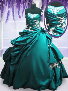 Dazzling Teal Taffeta Lace Up Strapless Sleeveless Floor Length Quinceanera Dresses Appliques and Pick Ups