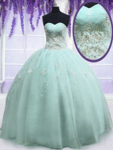 Light Blue Ball Gowns Beading and Embroidery Vestidos de Quinceanera Zipper Organza Sleeveless Floor Length