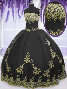 Customized Black Strapless Zipper Appliques Quinceanera Dress Sleeveless
