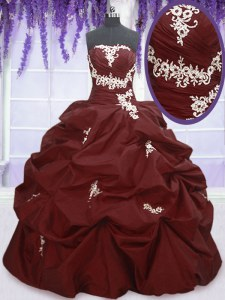 Burgundy Vestidos de Quinceanera Military Ball and Sweet 16 and Quinceanera and For with Appliques and Pick Ups Strapless Sleeveless Lace Up