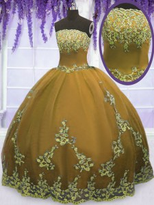 Ball Gowns 15th Birthday Dress Brown Strapless Tulle Sleeveless Floor Length Zipper