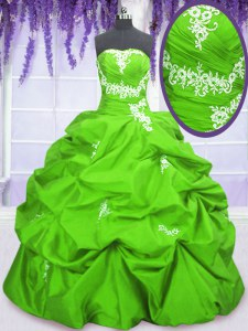 Charming Floor Length Quinceanera Gowns Taffeta Sleeveless Appliques and Pick Ups