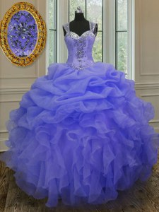 Glittering Straps Sleeveless Organza Quinceanera Dress Beading and Ruffles Zipper