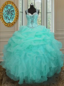 Organza Straps Sleeveless Zipper Beading and Ruffles Quince Ball Gowns in Apple Green
