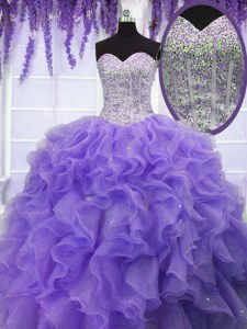 Clearance Sleeveless Organza Floor Length Lace Up Ball Gown Prom Dress in Lavender with Ruffles and Sequins