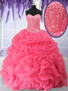 Cheap Sweetheart Sleeveless Organza Vestidos de Quinceanera Beading and Ruffles Lace Up
