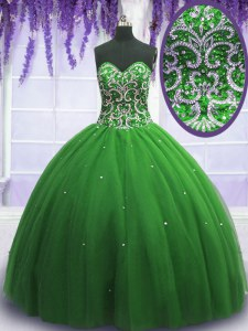 Green Sweet 16 Dress Military Ball and Sweet 16 and Quinceanera and For with Beading Sweetheart Sleeveless Lace Up