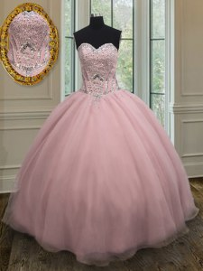 Amazing Floor Length Baby Pink Quinceanera Gown Organza Sleeveless Beading and Belt