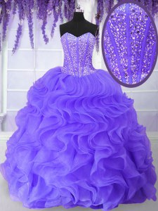 Floor Length Ball Gowns Sleeveless Lavender Sweet 16 Quinceanera Dress Lace Up