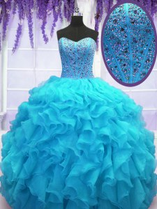 Decent Baby Blue Organza Lace Up Ball Gown Prom Dress Sleeveless Floor Length Beading and Ruffles