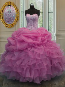 Most Popular Rose Pink Lace Up Quinceanera Dresses Beading and Ruffles and Pick Ups Sleeveless Floor Length