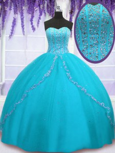 Tulle Sweetheart Sleeveless Backless Beading and Sequins Quince Ball Gowns in Aqua Blue