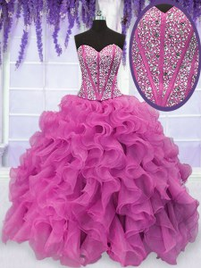 Sleeveless Floor Length Beading and Ruffles Lace Up Sweet 16 Quinceanera Dress with Hot Pink