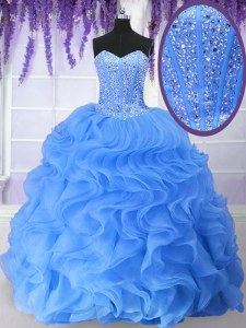 Glamorous Sweetheart Sleeveless Quince Ball Gowns Floor Length Ruffles and Sequins Blue Organza