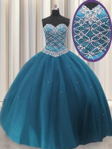 Luxurious Teal Tulle Lace Up Sweetheart Sleeveless Floor Length Sweet 16 Quinceanera Dress Beading and Sequins