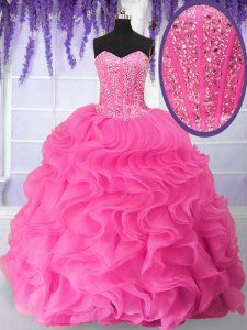 Fantastic Organza Sweetheart Sleeveless Lace Up Beading and Ruffles Sweet 16 Quinceanera Dress in Hot Pink