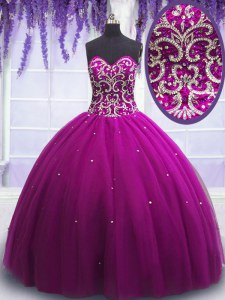 Affordable Sleeveless Floor Length Beading Lace Up Sweet 16 Dress with Fuchsia