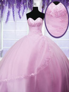 Baby Pink Sweetheart Lace Up Appliques 15 Quinceanera Dress Sleeveless