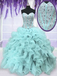 Sweetheart Sleeveless Organza 15th Birthday Dress Beading and Ruffles Lace Up