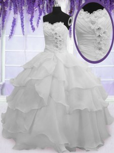 Affordable Silver Ball Gowns Sweetheart Sleeveless Organza Floor Length Lace Up Beading and Ruffled Layers Sweet 16 Quinceanera Dress