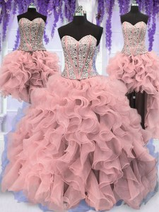 Four Piece Sweetheart Sleeveless Organza Quinceanera Dress Ruffles and Sequins Lace Up