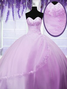 Lilac Ball Gowns Sweetheart Sleeveless Tulle Floor Length Lace Up Appliques Quinceanera Dresses