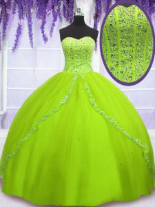 Fashion Sweetheart Sleeveless Tulle 15th Birthday Dress Beading Lace Up