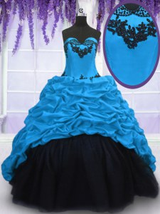 Blue Taffeta Lace Up Sweetheart Sleeveless With Train Ball Gown Prom Dress Sweep Train Appliques and Pick Ups