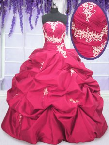 Long Sleeves Taffeta Asymmetrical Lace Up Sweet 16 Quinceanera Dress in Hot Pink with Appliques and Pick Ups