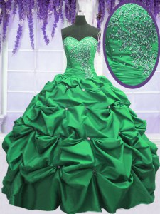 Great Green Sweetheart Neckline Beading and Pick Ups Sweet 16 Quinceanera Dress Sleeveless Lace Up