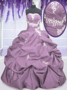 Fabulous Lilac Strapless Lace Up Appliques and Ruching and Pick Ups Sweet 16 Quinceanera Dress Sleeveless