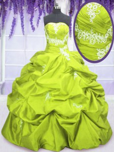Glamorous Sleeveless Taffeta Floor Length Lace Up 15th Birthday Dress in Yellow Green with Appliques and Pick Ups