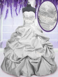 Affordable Taffeta Strapless Sleeveless Lace Up Embroidery and Pick Ups 15 Quinceanera Dress in Silver