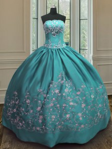 Exquisite Teal Ball Gowns Satin Strapless Sleeveless Embroidery Floor Length Lace Up 15th Birthday Dress