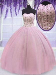 High Quality Floor Length Baby Pink Sweet 16 Quinceanera Dress Sweetheart Sleeveless Lace Up