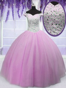 Off the Shoulder Lilac Short Sleeves Beading Floor Length Quince Ball Gowns