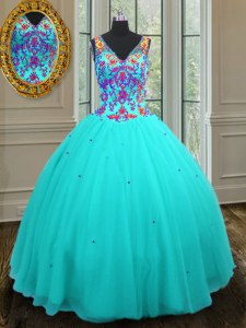 Top Selling Aqua Blue Tulle Zipper V-neck Sleeveless Floor Length Quince Ball Gowns Beading