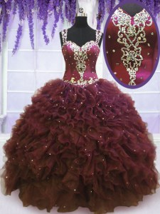 Straps Sleeveless Quinceanera Dress Floor Length Beading and Ruffles Burgundy Tulle