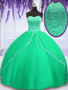 Hot Selling Green Quinceanera Gown Military Ball and Sweet 16 and Quinceanera and For with Beading and Sequins Sweetheart Sleeveless Lace Up