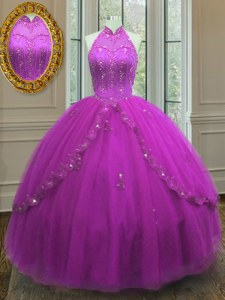 Spectacular Fuchsia Lace Up Quinceanera Dresses Beading and Appliques Sleeveless Floor Length