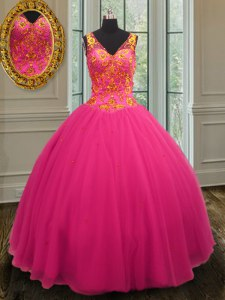 Hot Pink Zipper 15th Birthday Dress Beading Sleeveless Floor Length