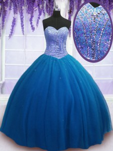 Stunning Floor Length Teal Sweet 16 Quinceanera Dress Sweetheart Sleeveless Lace Up