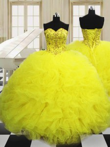 Glorious Sleeveless Floor Length Beading and Ruffles Lace Up Quinceanera Gowns with Light Yellow