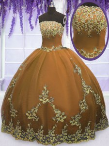 Brown Strapless Zipper Appliques Sweet 16 Quinceanera Dress Sleeveless