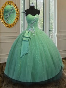 Floor Length Green Quinceanera Gown Tulle and Sequined Sleeveless Beading and Ruching and Bowknot
