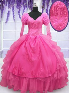 Captivating Hot Pink Organza Lace Up V-neck Long Sleeves Floor Length Vestidos de Quinceanera Beading and Embroidery and Hand Made Flower