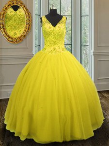Custom Design Yellow Sleeveless Floor Length Beading Zipper Quinceanera Gowns