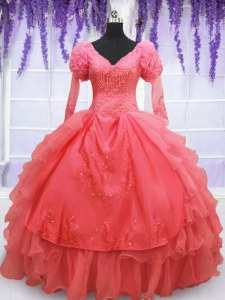 Artistic V-neck Long Sleeves Sweet 16 Quinceanera Dress Floor Length Beading and Embroidery Coral Red Organza