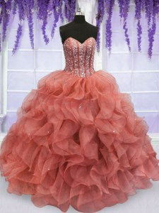 Dynamic Beading and Ruffles Quinceanera Dresses Watermelon Red Lace Up Sleeveless Floor Length