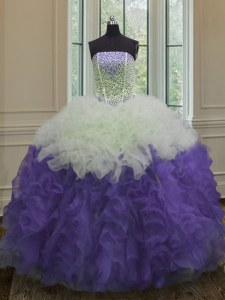 Floor Length White And Purple Quince Ball Gowns Organza Sleeveless Beading and Ruffles
